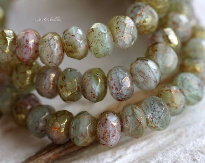 GILDED CREEK No. 1 .. 30 Premium Picasso Czech Glass Faceted Rondelle Beads 3x5mm (5867-st)
