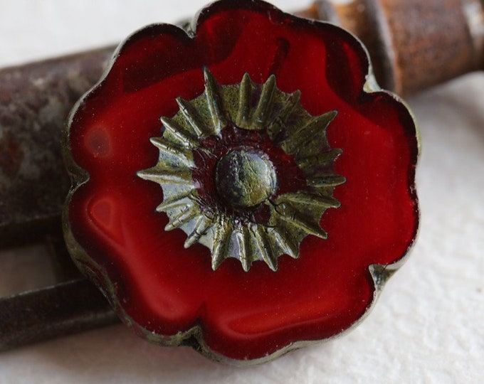 CHERRY BLOOMS No. 4 .. 1 Premium Picasso Czech Glass Hibiscus Flower Beads 22mm (5245-1)