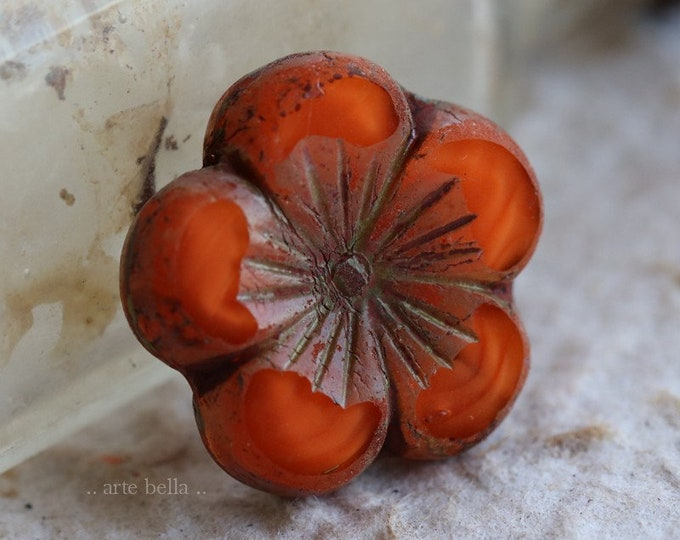 ORANGE HIBISCUS .. 1 Premium Picasso Czech Glass Hibiscus Flower Bead 21mm (6414-1)