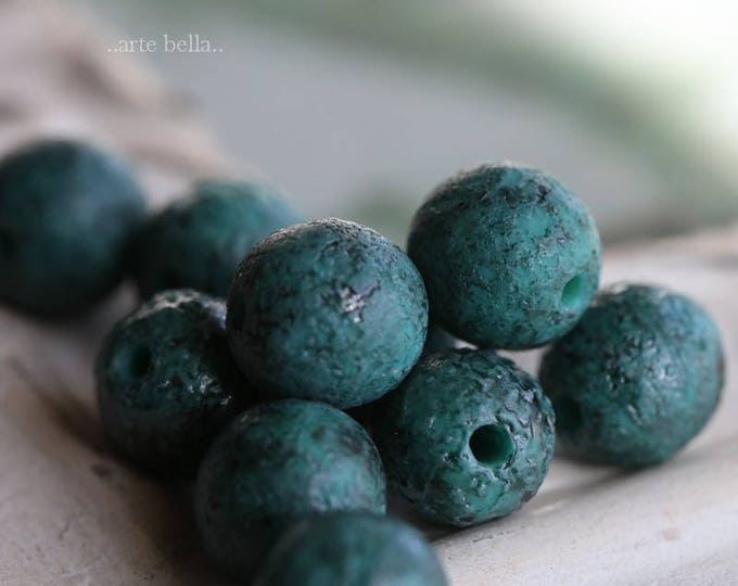 TURQUOISE INK .. 10 Stone Picasso Czech Glass Textured Beads 8mm (6160-10)