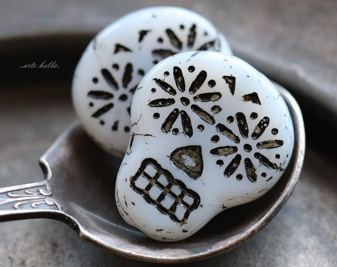 WHITE BLACK SKULLS .. 2 Picasso Czech Sugar Skull Beads 20x17mm (5268-2)