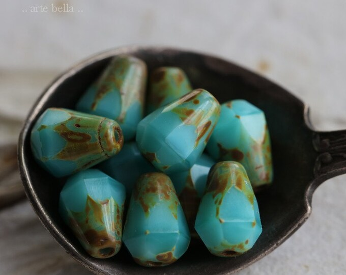 TURQUOISE SILK DROPETTES No. 1 .. 10 Picasso Czech Glass Drop Beads 8x6mm (6384-10)