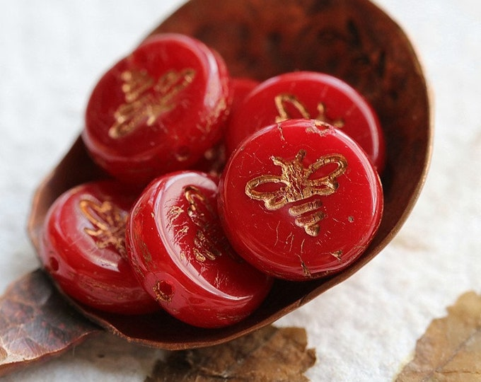 BRONZED RED BIZZY B .. New 6 Premium Czech Glass Bee Coin Beads 12mm (8469-6)