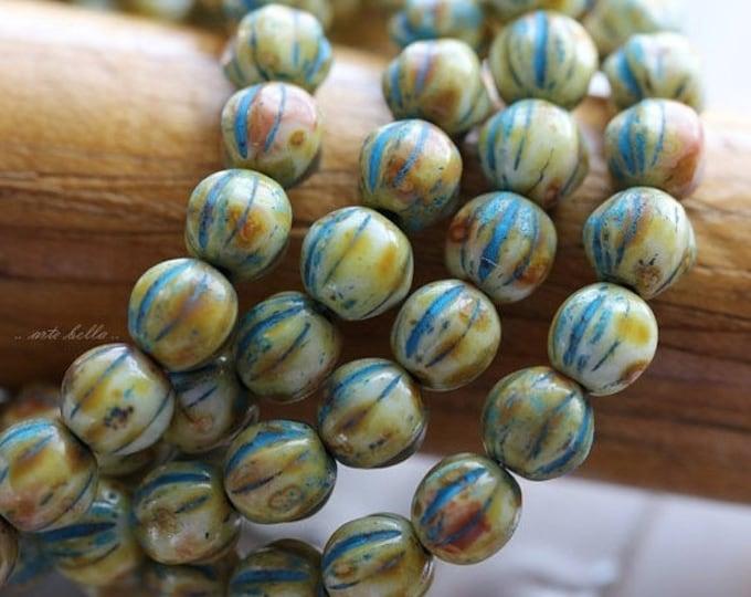 BLUE CREAM MELONS .. 25 Premium Picasso Czech Glass Melon Beads 6mm (5099-st)