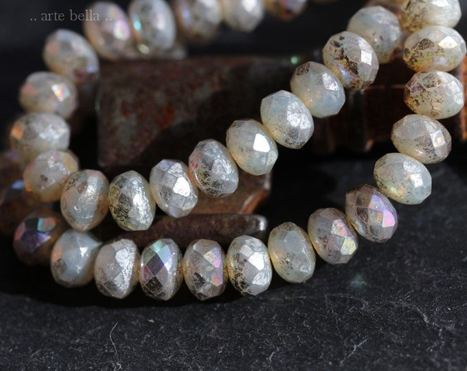 MYSTIC OPAL BABIES No. 1 .. 30 Premium Picasso Czech Mercury Glass Rondelle Beads 3x5mm (6893-st)