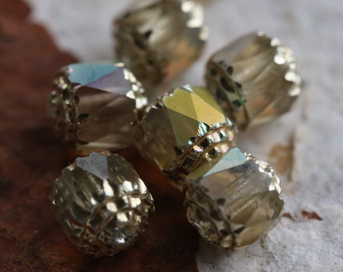 sale .. OPULENT No. 2 .. 6 Fire Polished Cathedral Czech Glass Beads 8mm (6240-6)