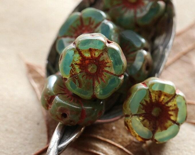 EARTHY AQUARIUM PANSIES .. New 6 Premium Picasso Czech Glass Hibiscus Beads 12mm (8693-6)