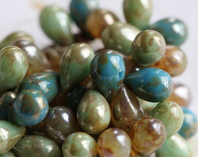 MIXED DROPS .. 25 Premium Picasso Czech Glass Drop Beads 6x9mm (6577-st)