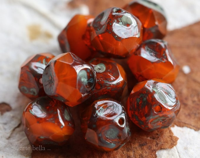 RIPE ORANGE NUGGETS .. 10 Premium Picasso Czech Glass Central Cut Beads 9mm (7551-10)
