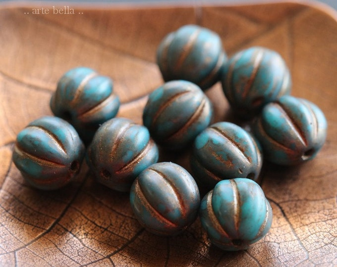 BRONZED TEAL MELONS 8mm .. 10 Premium Picasso Czech Etched Glass Melon Beads (7856-10)