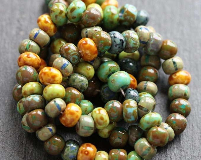 """OLD WORLD MIX No. 8292 .. 20"""" Premium Picasso Czech Glass Glossy Striped Seed Bead Mix Size 1/0-2/0 (8292-st)"""