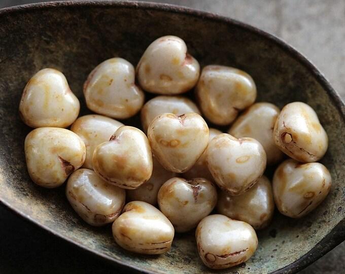 CREAM BEBE HEARTS .. New 20 Premium Picasso Czech Glass Puffy Heart Beads 6mm (8725-20)