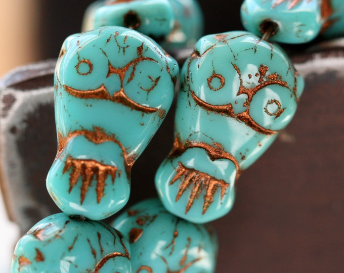 sale .. TURQUOISE OWLS No. 1 .. 6 Premium Picasso Czech Glass Owl Beads 11x18mm (4459-6)