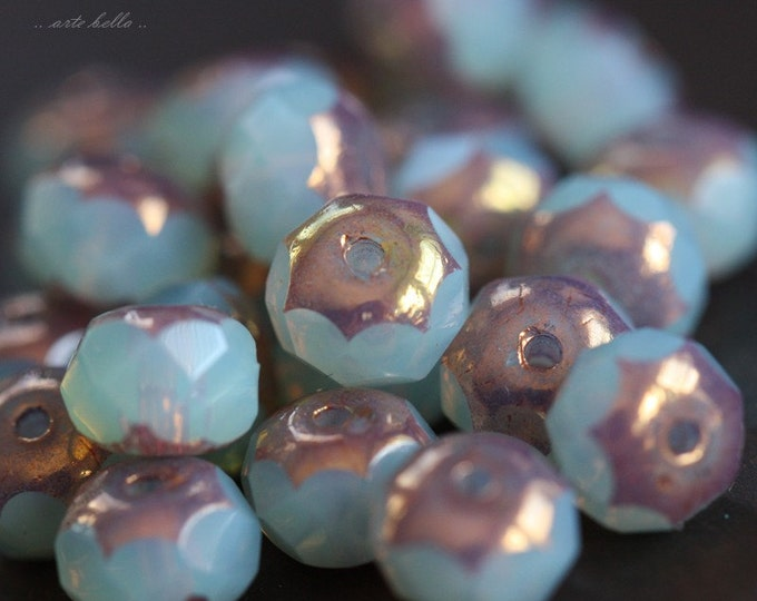 METALLIC GLOW No. 3 .. 10 Picasso Czech Rondelle Glass Beads 7x5mm (B02-10)