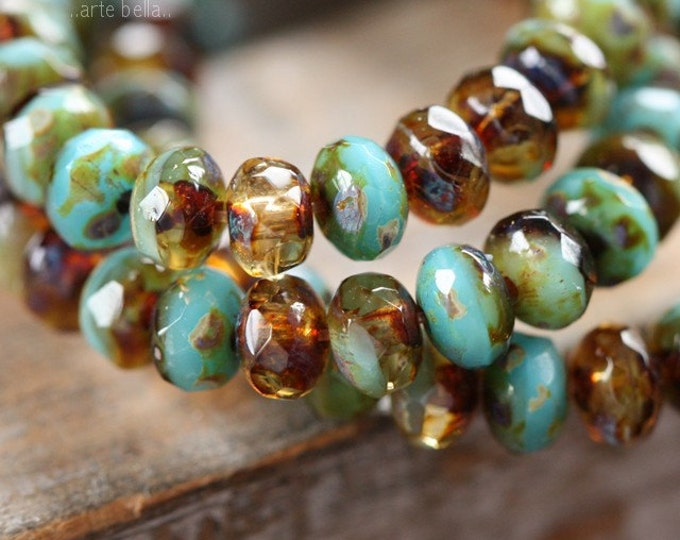 AMBER SKIES No. 2 .. 30 Picasso Czech Glass Faceted Rondelle Beads 3x5mm (3992-st)