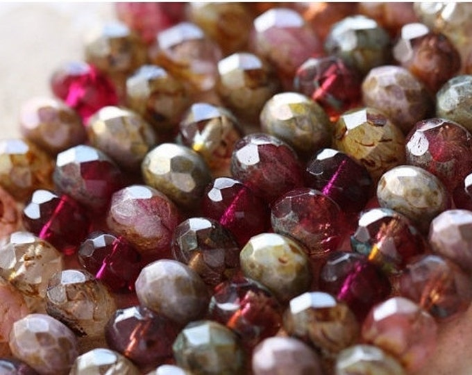 ROSE WATER .. 25 Premium Picasso Czech Glass Rondelle Bead Mix 6x8-9mm (4406-25)