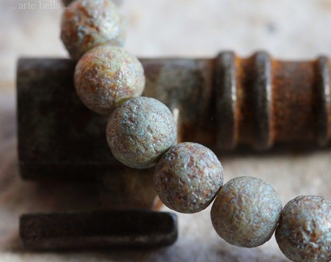 EARTHY MARBLES No. 3 .. 30 Premium Picasso Czech Etched Druk Glass Beads 6mm (6899-st)