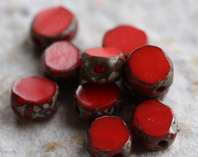 DRAMA SLABS 6mm .. 10 Premium Picasso Czech Glass Coin Beads (6699-10)