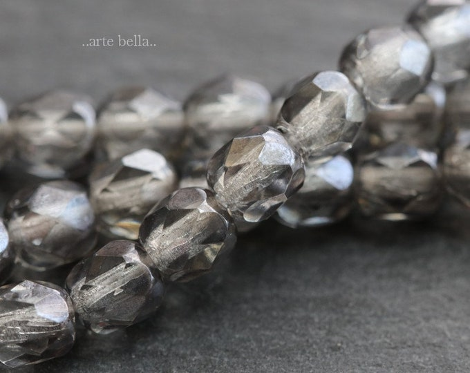 SILVERED MERCURY 5mm .. 50 Premium Picasso Faceted Czech Glass Beads 5mm (6492-st)