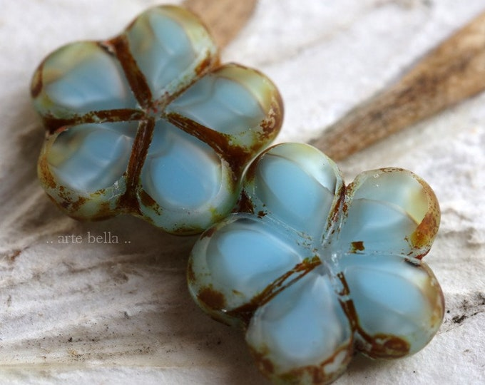 SKY POSIES .. 2 Premium Picasso Czech Glass Flower Beads 17mm (6784-2)