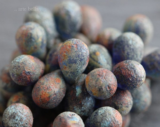 EARTHY SAPPHIRE DRIPS No. 2 .. 25 Premium Picasso Czech Drop Beads 6x9mm (6512-st)