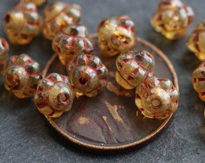 MINI GOLDEN UFO .. 20 Picasso Czech Glass Saturn Beads 6mm (6427-20)