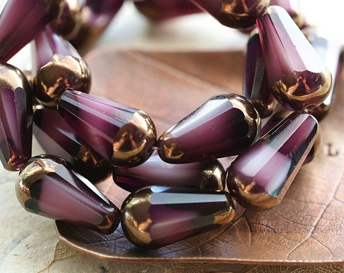 BRONZE BLACKBERRY CREAM Faceted Chubettes .. New 8 Premium Czech Glass Faceted Drop Beads 15x8mm (8609-8)