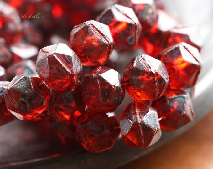 RUBY TREASURES .. 10 Premium Picasso Czech Glass English Cut Beads 10x9mm (4530-10)