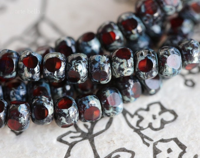 CRANBERRY PICASSO SEEDS .. 50 Premium Picasso Czech Glass Trica Seed Bead Size 6/0 (7565-st)