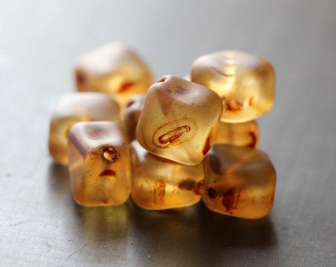 EARTHY AMBER CUBES .. New 10 Premium Matte Picasso Czech Glass Diagonal Cube Beads 9x7mm (8393-10)