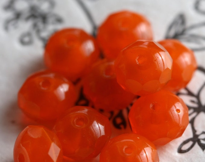 RIPE ORANGES .. New 10 Premium Czech Glass Rondelle Beads 6x9mm (7035-10)