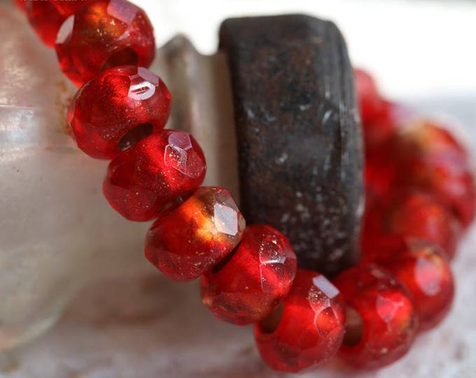 GLOWING EMBERS No. 2 .. 10 Premium Czech Glass Large Hole Roller Beads 6x9mm (5932-10)