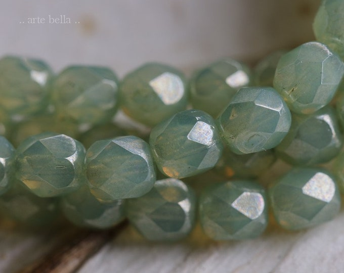 GREEN CASHMERE 6mm .. 25 Premium Picasso Czech Faceted Round Glass Beads (6583-st)