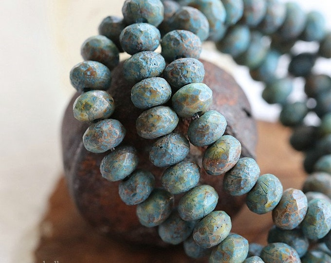 EARTHY BLUE BABIES No. 2 .. 30 Premium Picasso Czech Glass Etched Rondelle Beads 3x5mm (8231-st)