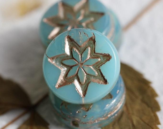 SILVERED AQUA STARS .. 4 Premium Platinum Czech Glass Star Coin Beads 13mm (7828-4)