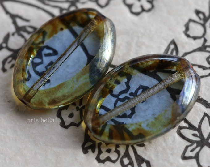 PEWTER SAPPHIRE STONES .. 2 Premium Picasso Czech Glass Oval Beads 20x14mm (7599-2)