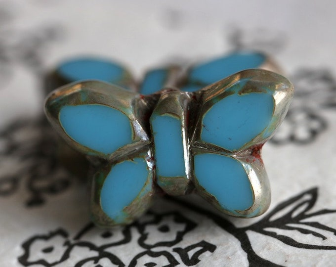 SKY FLUTTERS .. New 2 Premium Picasso Czech Glass Butterfly Beads 19x10mm (6996-2)