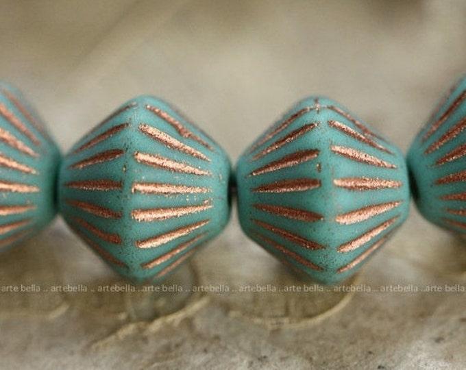sale .. GROOVY BLUES .. 10 Premium Picasso Czech Glass Bicone Beads 11x10mm (4018-10)