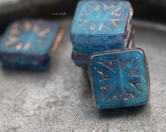 OCEANIC SQUARES .. 6 Premium Picasso Czech Glass Square Beads 10mm (5517-6)
