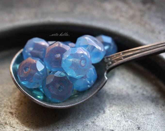 sale .. BLUE PLUM .. 10 Premium Picasso Czech Glass Beads 6x8mm (B125-10)
