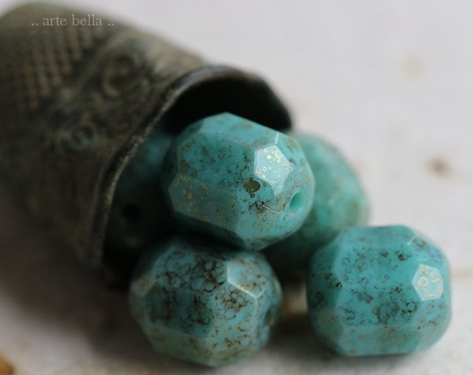 TURQUOISE BLITZ .. 6 Premium Picasso Czech Cathedral Beads 9x10mm (6435-6)
