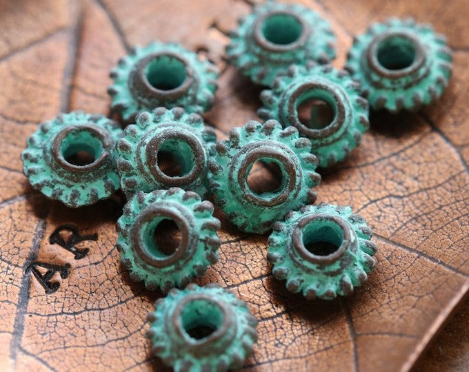 COPPER PATINA GROVER Spacers .. 10 Mykonos Greek Bali Style Spacer Beads 6.5mm (M243-10)