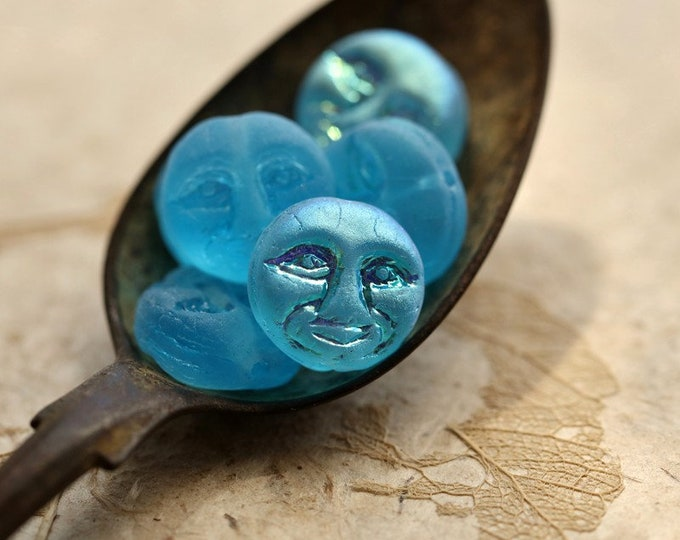 MYSTIC AQUA MOONS No. 2 .. New 6 Premium Czech Glass Moon Face Beads 13mm (8911-5)