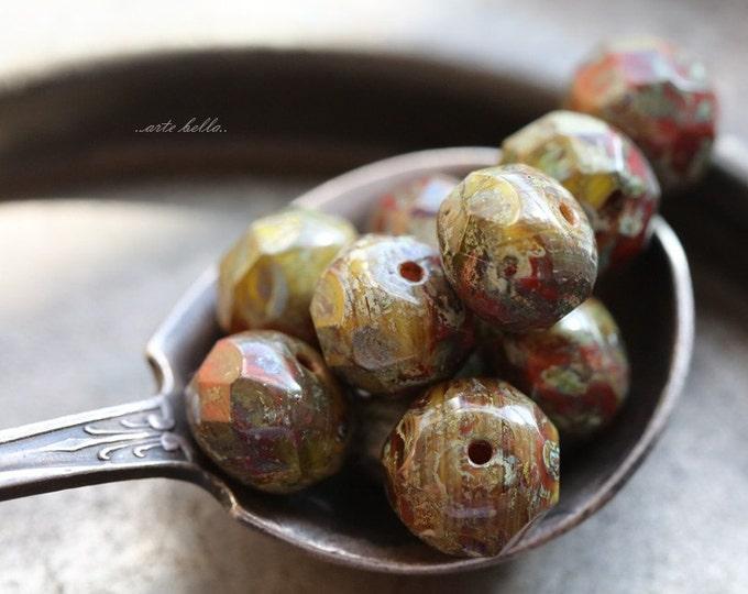 sale .. MOSSY BRICKS .. 10 Premium Picasso Czech Glass Rondelle Beads 6x8-9mm (B100-10)