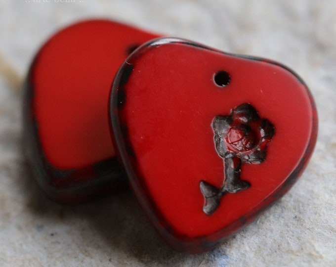 RED THUMPERS .. 2 Premium Picasso Czech Glass Heart Flower Beads 16x17mm (6711-2)