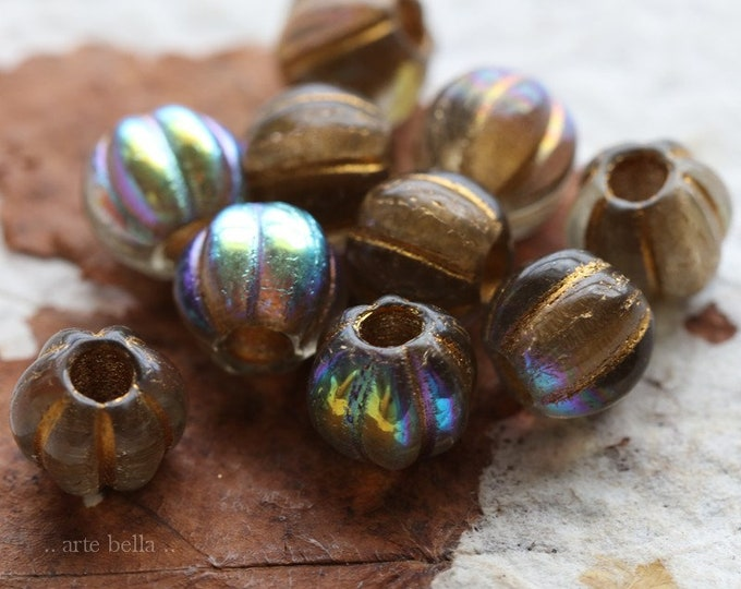 MYSTIC GOLD MELONS 8mm .. 10 Premium Picasso Large Hole Czech Glass Melon Beads (7108-10)
