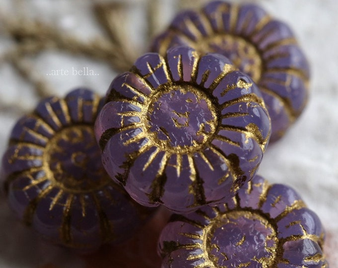 GOLDEN GRAPE SUNFLOWERS .. New 4 Premium Picasso Czech Glass Flower Beads 13mm (7025-4)