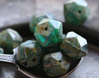SEASHORE NUGGETS No. 2 .. 10 Picasso Czech Glass English Cut Beads 10x9mm (6087-10)