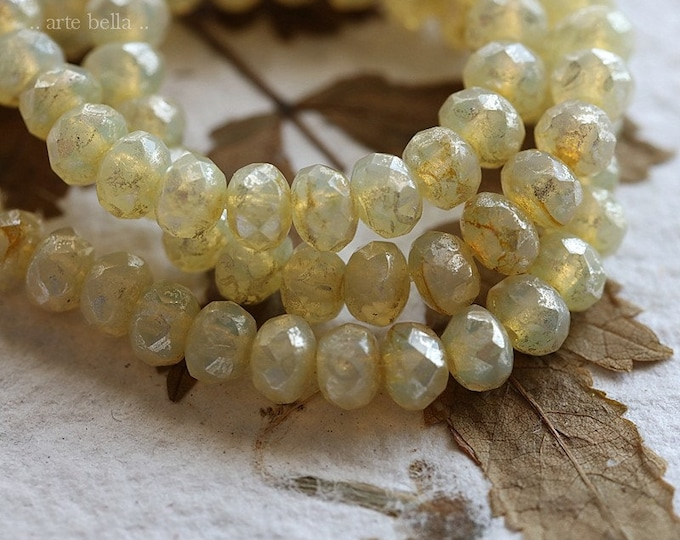 SILVERED YELLOW GLOW .. 30 Premium Picasso Czech Rondelle Glass Beads 3x5mm (8232-st)