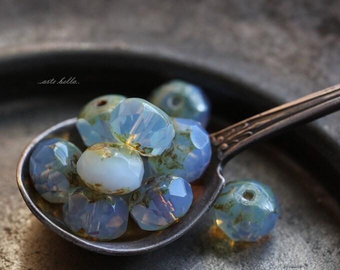 LAVENDER MOON No. 2  .. 10 Premium Picasso Czech Rondelle Glass Beads 6x9mm (B123-10)